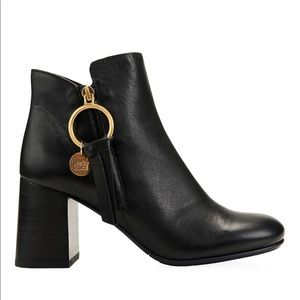 See By Chloe   Louise Block Heel Leather Ring Boot